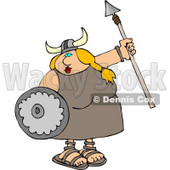 Funny Viking Woman Armed with a Spear and Shield Clipart Illustration © Dennis Cox #5477