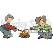 Gay Cowboys Cooking Hot Dogs Over a Campfire Clipart Illustration © djart #5478