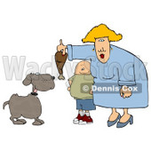 Son Watching Mom Feed Pet Dog a Turkey Leg Clipart Illustration © Dennis Cox #5480