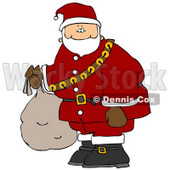 Santa Carrying Bag of Toys Clipart Illustration © djart #5481