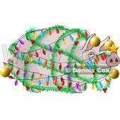 Funny Pig Decorated with Christmas Lights and Ornaments Clipart Illustration © Dennis Cox #5482