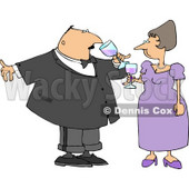 Husband & Wife Drinking Wine at a Party Clipart Illustration © djart #5484