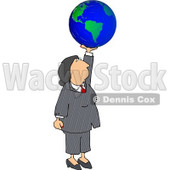 Successful Businesswoman Holding the World In Her Hand Clipart Illustration © Dennis Cox #5486