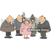 Obese Men and a Woman Drinking Wine at a Party Clipart Illustration © djart #5487