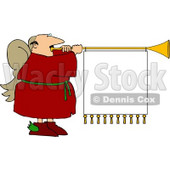 White Male Christmas Angel Playing Music with Blank Sign Clipart Illustration © djart #5488
