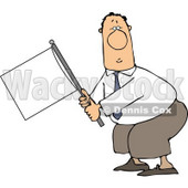 Submissive Businessman Holding a White Flag Clipart Illustration © djart #5490