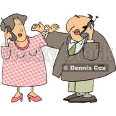 American Men and Women Talking On Cellphones Clipart Illustration © Dennis Cox #5493