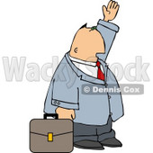 Businessman with Briefcase Trying to Wave Down a Taxi in a Big City Clipart Illustration © djart #5494