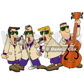 Musicians Playing 1950's Style Blues Music Clipart Illustration © Dennis Cox #5495
