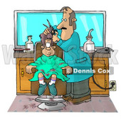 Boy Getting His 1st Haircut at a Professional Barbershop Clipart Illustration © Dennis Cox #5497