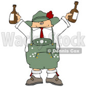German Man Celebrating Oktoberfest with a Couple of Beers Clipart Illustration © djart #5498
