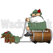 German Man Transporting a Wooden Barrel/Keg of Beer to a Party Clipart Illustration © Dennis Cox #5499