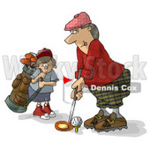 Father and Son Golfing Together Clipart Illustration © Dennis Cox #5500