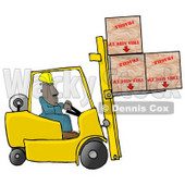 Forklift Driver Delivering Fragile Boxes Upside Down Clipart Illustration © djart #5505