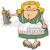 German Woman Serving a Beer Stein at a Bar On Oktoberfest Clipart Illustration © djart #5509