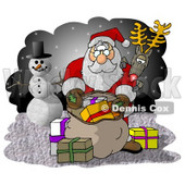 Rudolph Watching Santa Pick Out Christmas Presents from His Bag Clipart Illustration © Dennis Cox #5512