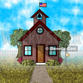 American Schoolhouse Clipart Illustration © Dennis Cox #5513