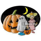 Halloween Pumpkin, Trick-or-Treaters, and Witch Flying In Front of a Crescent Moon Clipart Illustration © djart #5514