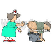 Patient Getting Shot In the Butt by a Nurse with a Syringe Clipart Illustration © Dennis Cox #5515