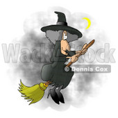 Wicked Witch Flying On a Broomstick In the Dark Night Sky During Halloween Clipart Illustration © Dennis Cox #5516