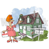 Female Realtor Taking a House Off the Market Clipart Illustration © djart #5518