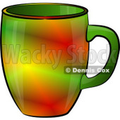 Red & Green Colored Coffee Cup Clipart Illustration © Dennis Cox #5519