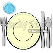 Informal Complete Place Setting for One Clipart Illustration © Dennis Cox #5521