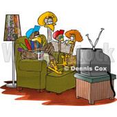 Funny Turkey Family Standing and Sitting Around Watching TV Clipart Illustration © djart #5597