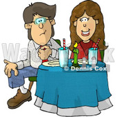 Uncomfortable Couple Sitting at a Dinner Table On Their First Date Clipart Illustration © djart #5599