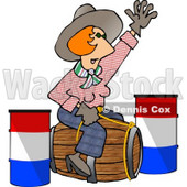 Professional Rodeo Cowgirl Riding a Wooden Barrel Clipart Illustration © djart #5604