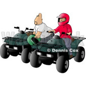 Father and Son, Man and Boy, Riding ATV Four Wheelers Clipart Illustration © Dennis Cox #5606