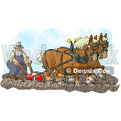 Belgian Horses Pulling a Farmer On a Plough Clipart Illustration © Dennis Cox #5607