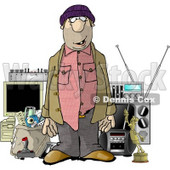 Male Robber Standing in Front of Stolen Items Clipart Illustration © Dennis Cox #5608