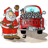 Santa Claus With a Truck of Coal Ready for Delivery to Bad Boys and Girls on Christmas Clipart Illustration © Dennis Cox #5609
