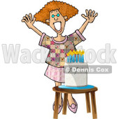 Woman Standing Happily by a Birthday Cake Clipart Illustration © djart #5611