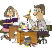 Male and Female Accountants Working at Desks Clipart Illustration © Dennis Cox #5612