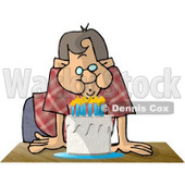 Man Blowing Out Candles on a Birthday Cake Clipart Illustration © djart #5613