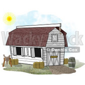 White Horse Stable Barn With a Barrel, Saddle and Hay Clipart Illustration © djart #5614
