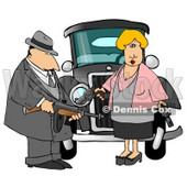 Notorious Outlaws Know as Bonnie Parker and Clyde Barrow Clipart Illustration © Dennis Cox #5655