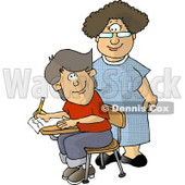 Female Elementary School Teacher and Male Student Looking at Each Other Clipart Illustration © djart #5656