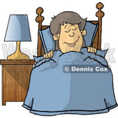 Happy Boy Sleeping In His Bedroom Clipart Illustration © djart #5657
