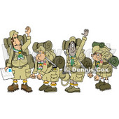 Boy Scout Troops and Scout Leader Waving Goodbye Before Backpacking Clipart Illustration © Dennis Cox #5658