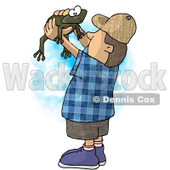 Boy Holding and Looking at a Wild Green Frog in His Hands Clipart Illustration © djart #5659