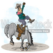 Bareback Bronc Riding at a Rodeo Competition Clipart Illustration © Dennis Cox #5660