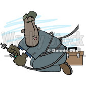 Mexican Repairman Working with Cable Wires Clipart Illustration © Dennis Cox #5662