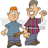 Two School Bullies Picking a Fight Clipart Illustration © Dennis Cox #5663