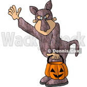 Boy Wearing a Bunny Suit While Trick-or-treating Clipart Illustration © Dennis Cox #5665