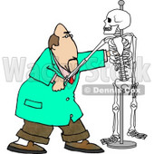 Male Chiropractor Practicing Procedures On a Skeleton Clipart Illustration © Dennis Cox #5667