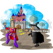 Wicked Witch Casting a Spell On a King Clipart Illustration © Dennis Cox #5668