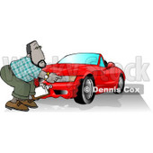 Male Insurance Agent  Accessing Damage of a Wrecked Sports Car Clipart Illustration © Dennis Cox #5670